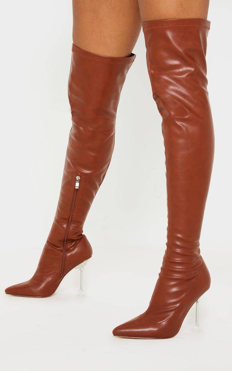Tan Cake Stand Thigh High Sock Boot 2