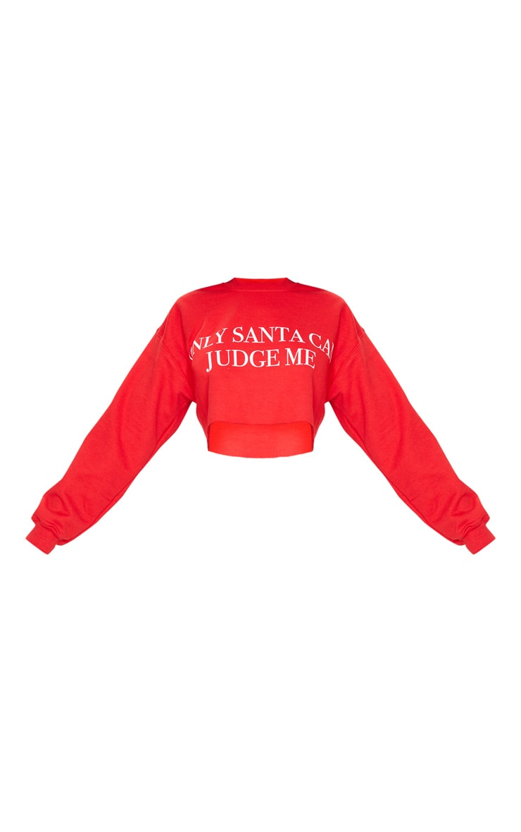 Red Only Santa Can Judge Me Cropped Sweatshirt 3