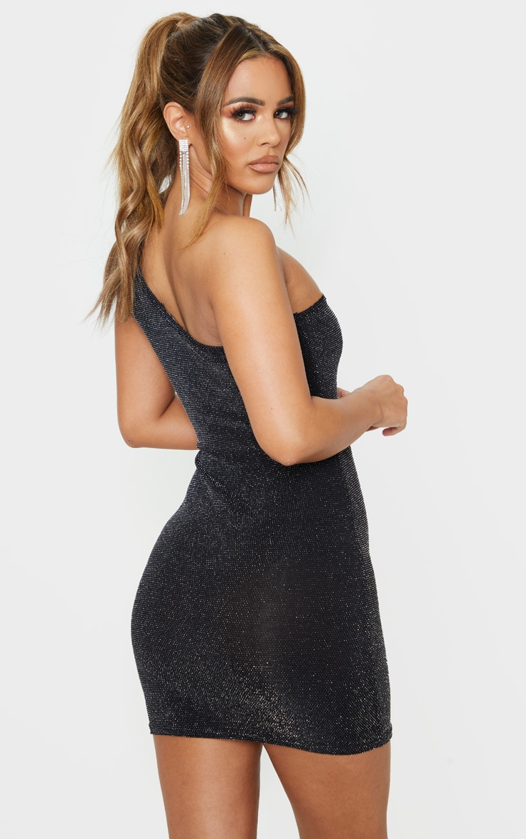 Petite Black One Shoulder Textured Glitter Bodycon Dress  2