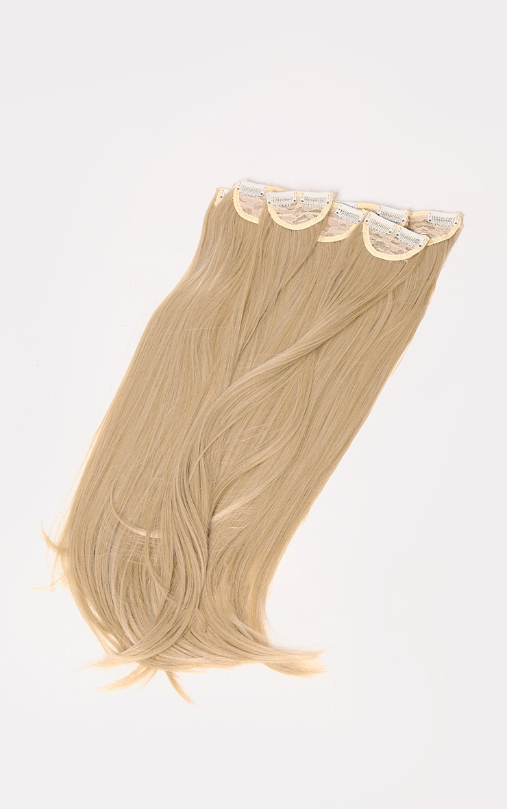 LullaBellz Super Thick 22'5 Piece Straight Clip In Hair Extensions Light Golden Blonde 5