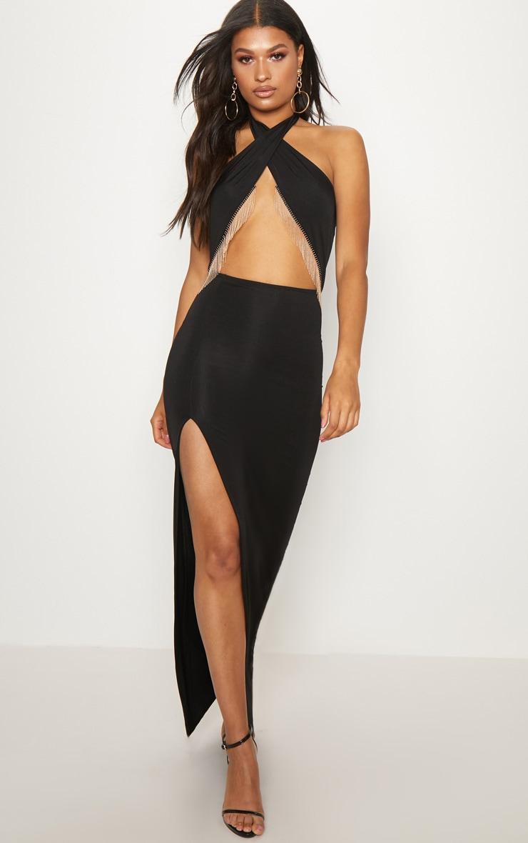 Black Halterneck Chain Trim Maxi Dress 1