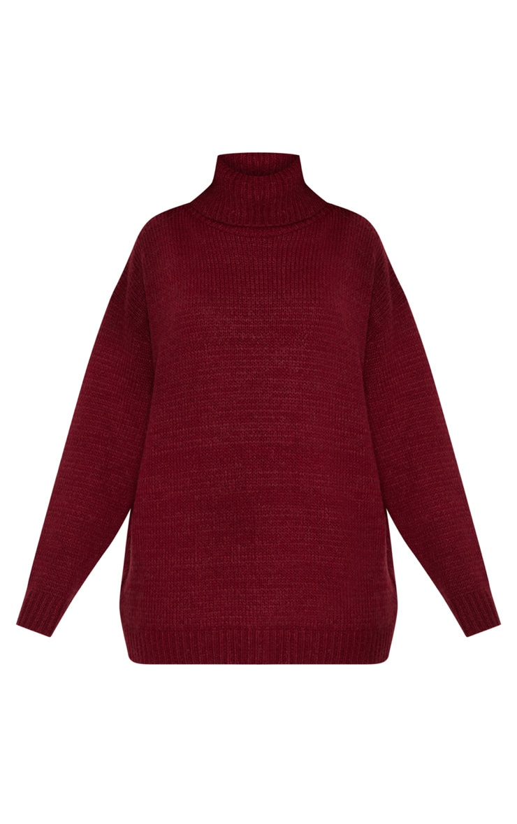 Burgundy High Neck Fluffy Knit Sweater  3