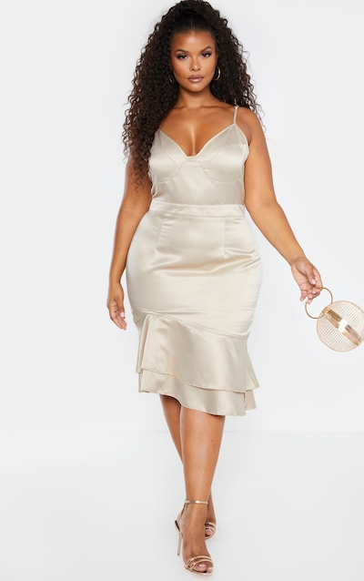 Plus Champagne Strappy Cup Detail Frill Hem Midi Dress