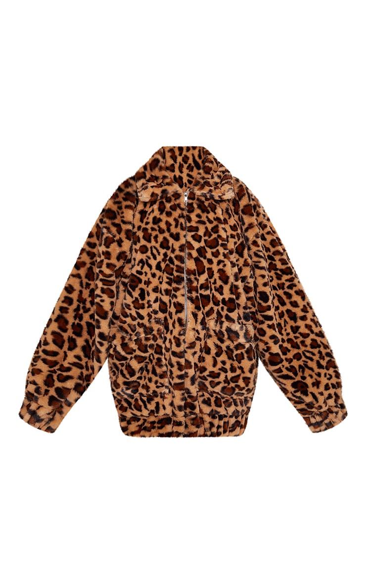 Manteau en fausse fourrure léopard marron à poches 3