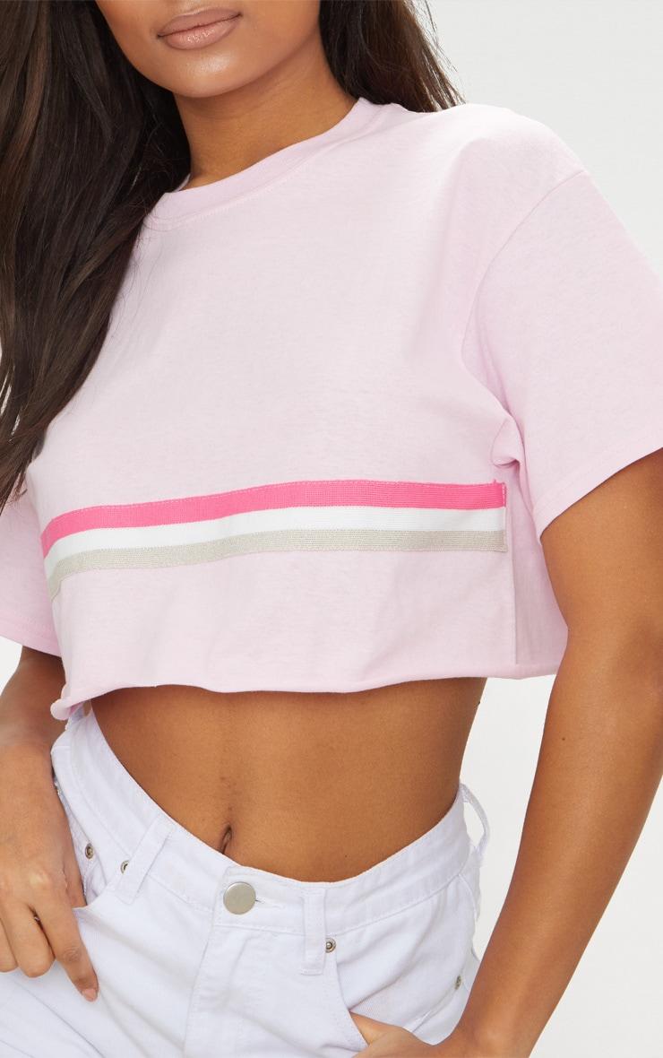 Pink Sporty Tape Crop T Shirt  4