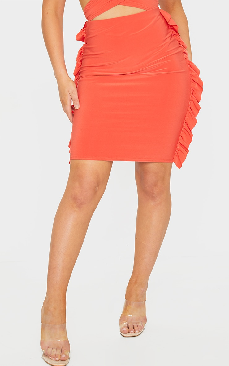 Bright Orange Slinky Frill Seam Mini Skirt 2