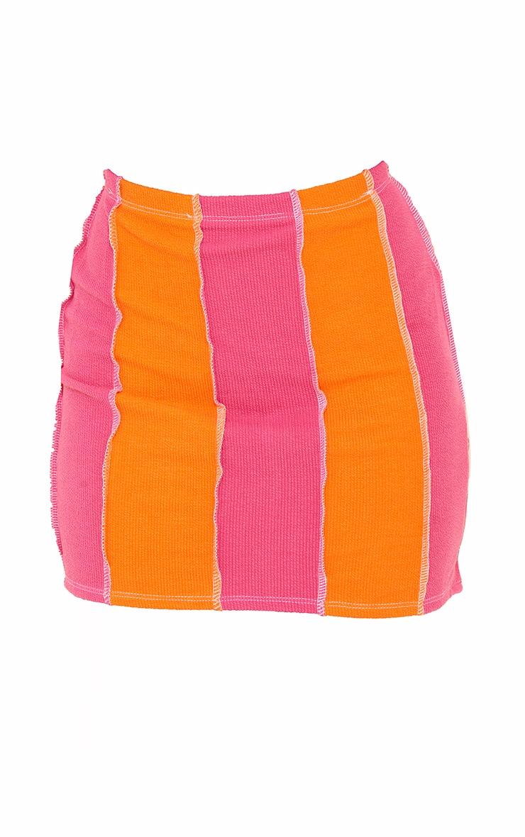 Pink Contrast Stripe Button Detail Hem Skirt 6
