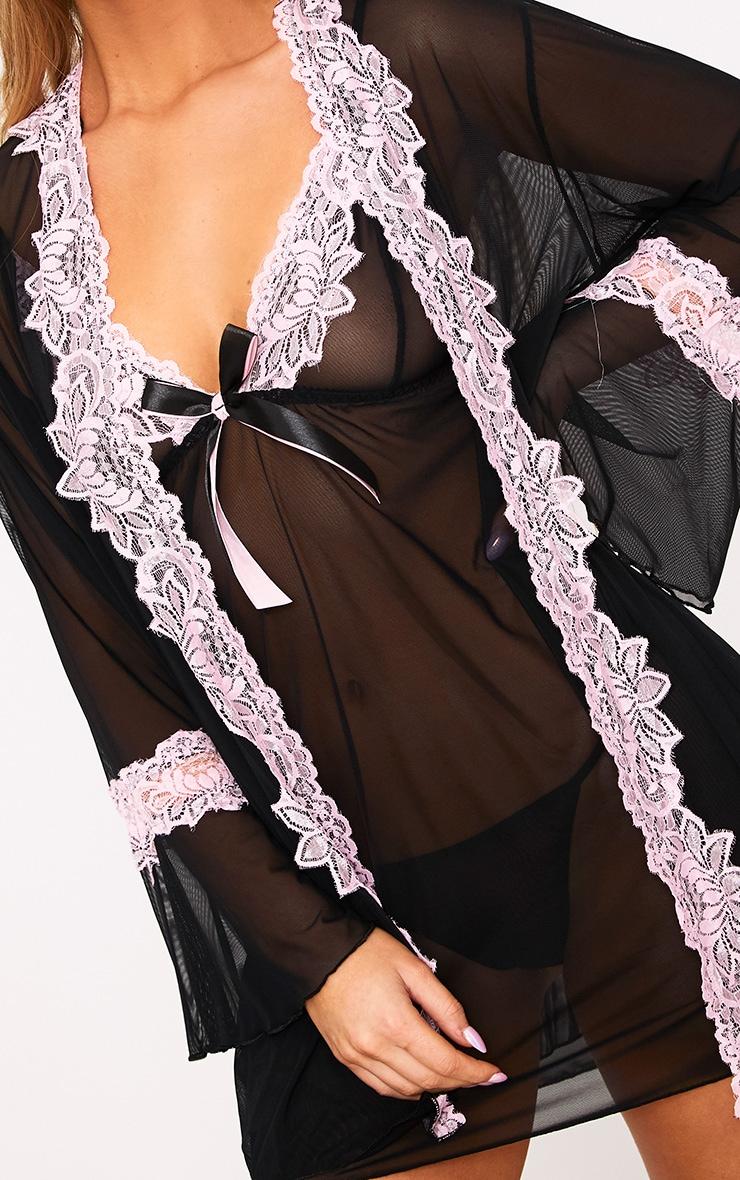Black 3 Piece Contrast Lace Lingerie Set 6