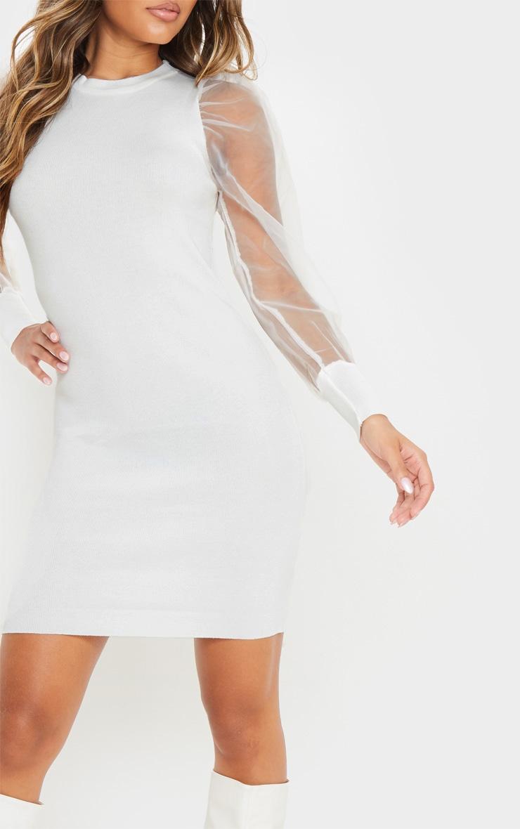 White Organza Puff Sleeve Dress 5