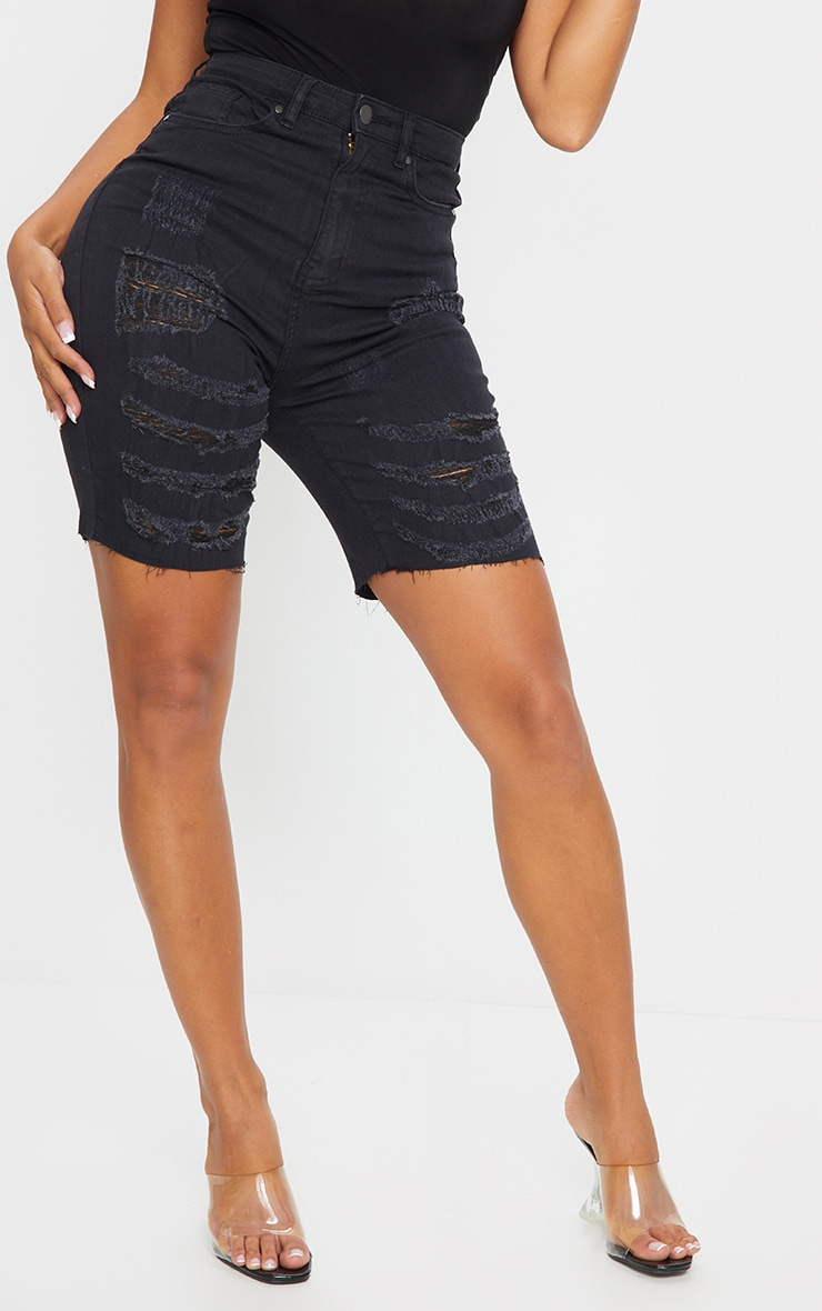 Shape Black Extreme Rip Stretch Longline Denim Short 2