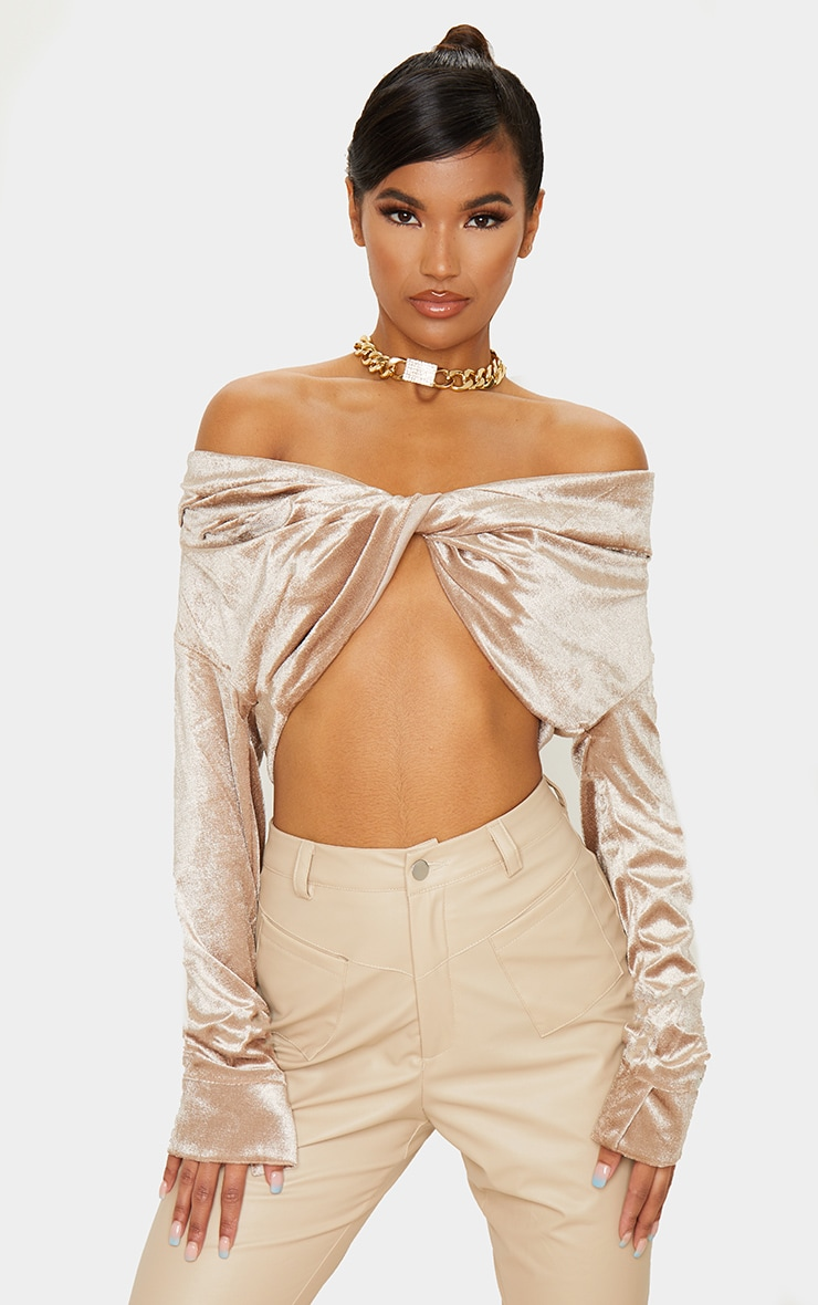 Stone Velvet Twisted Front Bardot Long Sleeve Crop Top 1