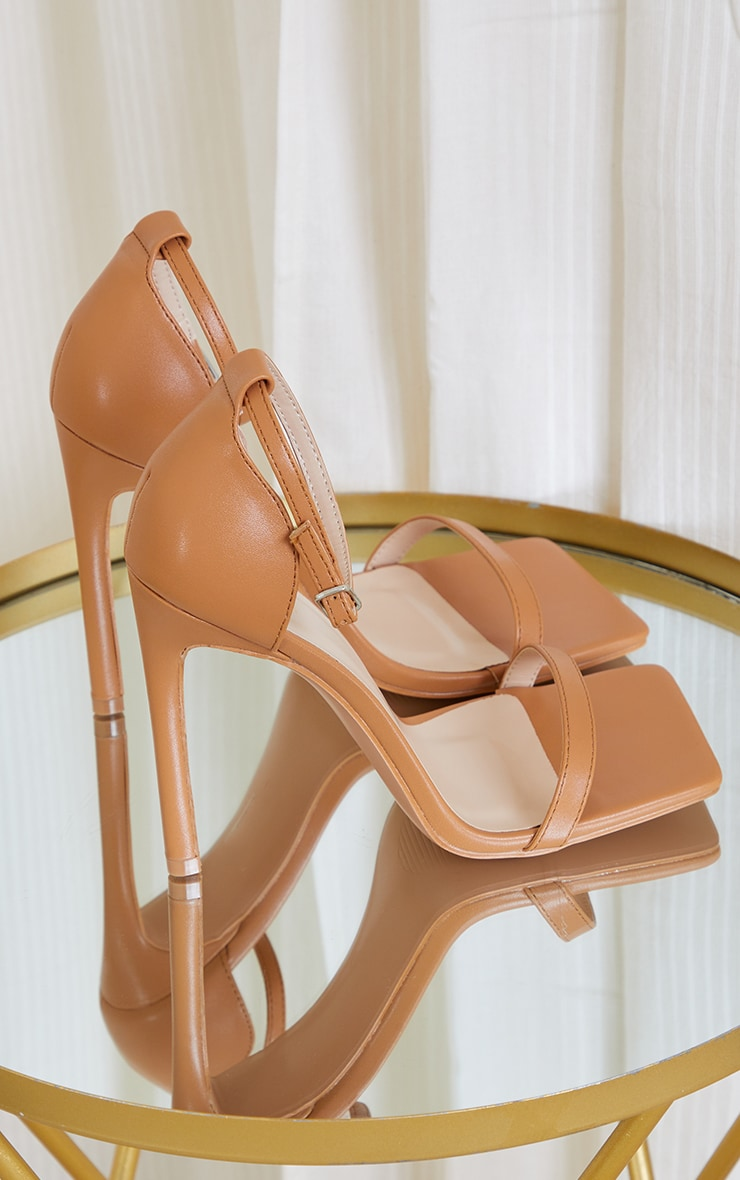 Tan Clover Barely There Strappy Squared Toe Heeled Sandals 4