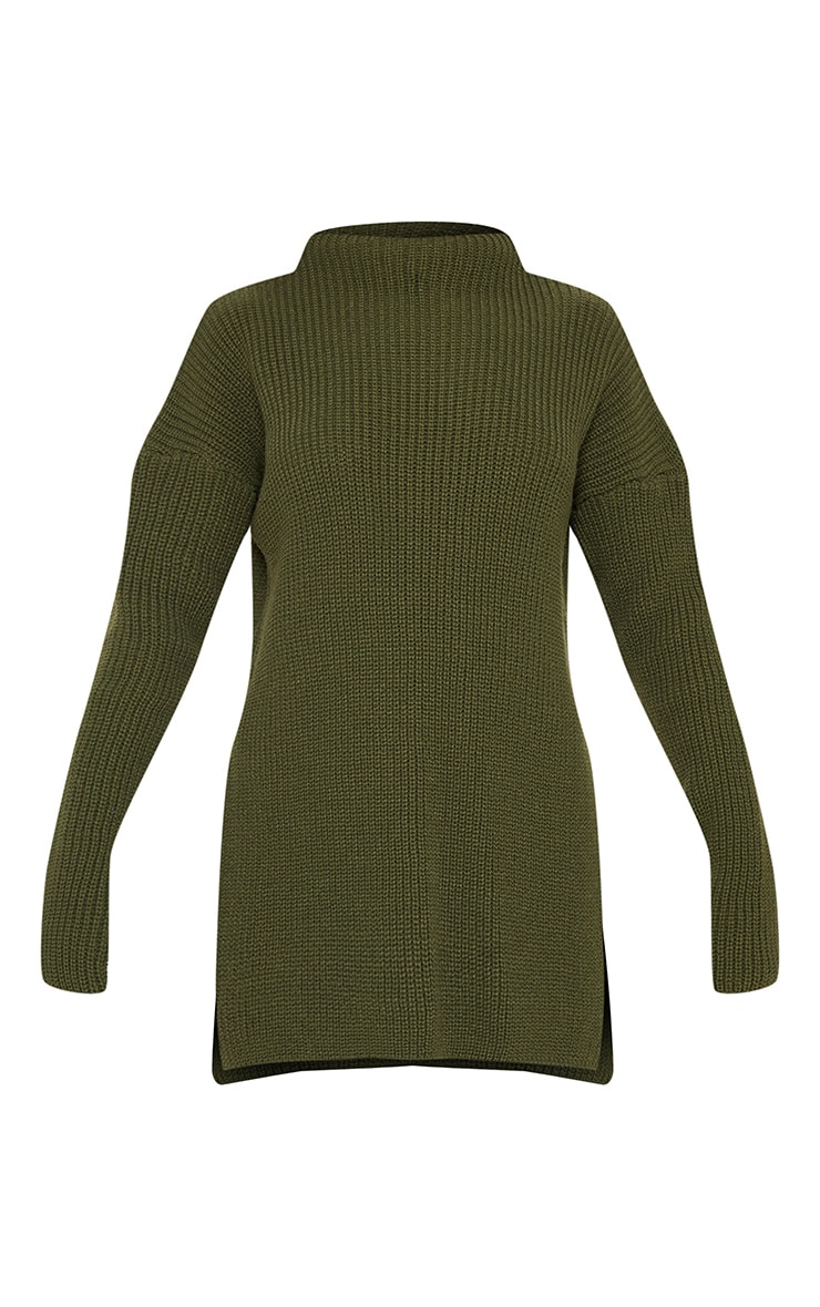 Olive High Neck Oversized Jumper  3