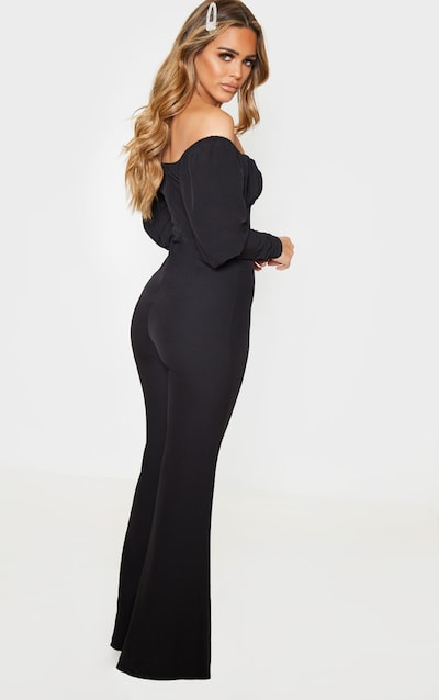 Petite Black Ruched Long Sleeved Flare Leg Bardot Jumpsuit