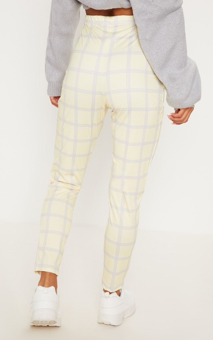 Yellow Check Popper Front Skinny Trouser 4