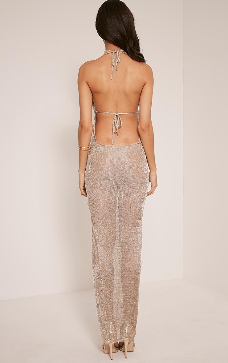 Dido robe maxi tricotée transparente or métallisé avec dos nu 3