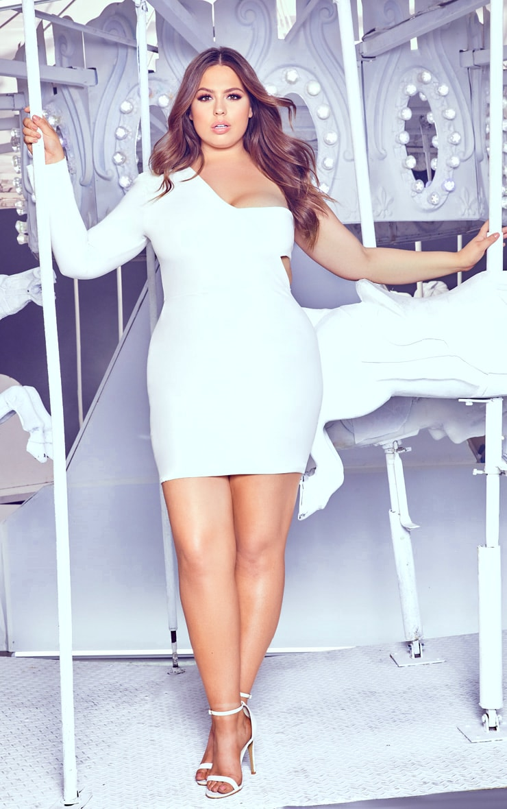 Plus White One Shoulder Bodycon Dress 4
