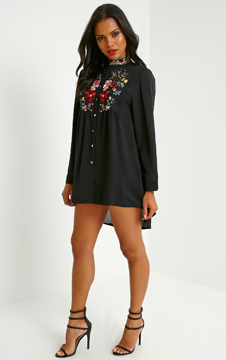Exie Black Embroidered Sheer Shirt Dress 3