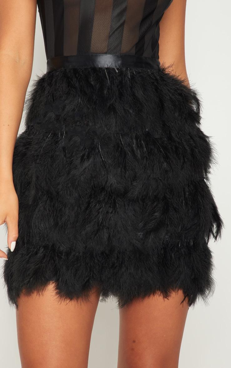 Black High Neck Sleeveless Mesh Feather Bodycon Dress 5