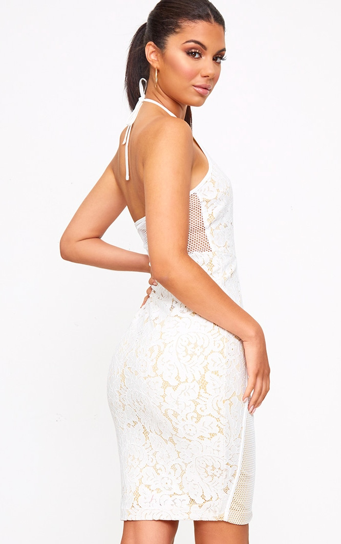 White Lace Fishnet Panel Halterneck Midi Dress 2