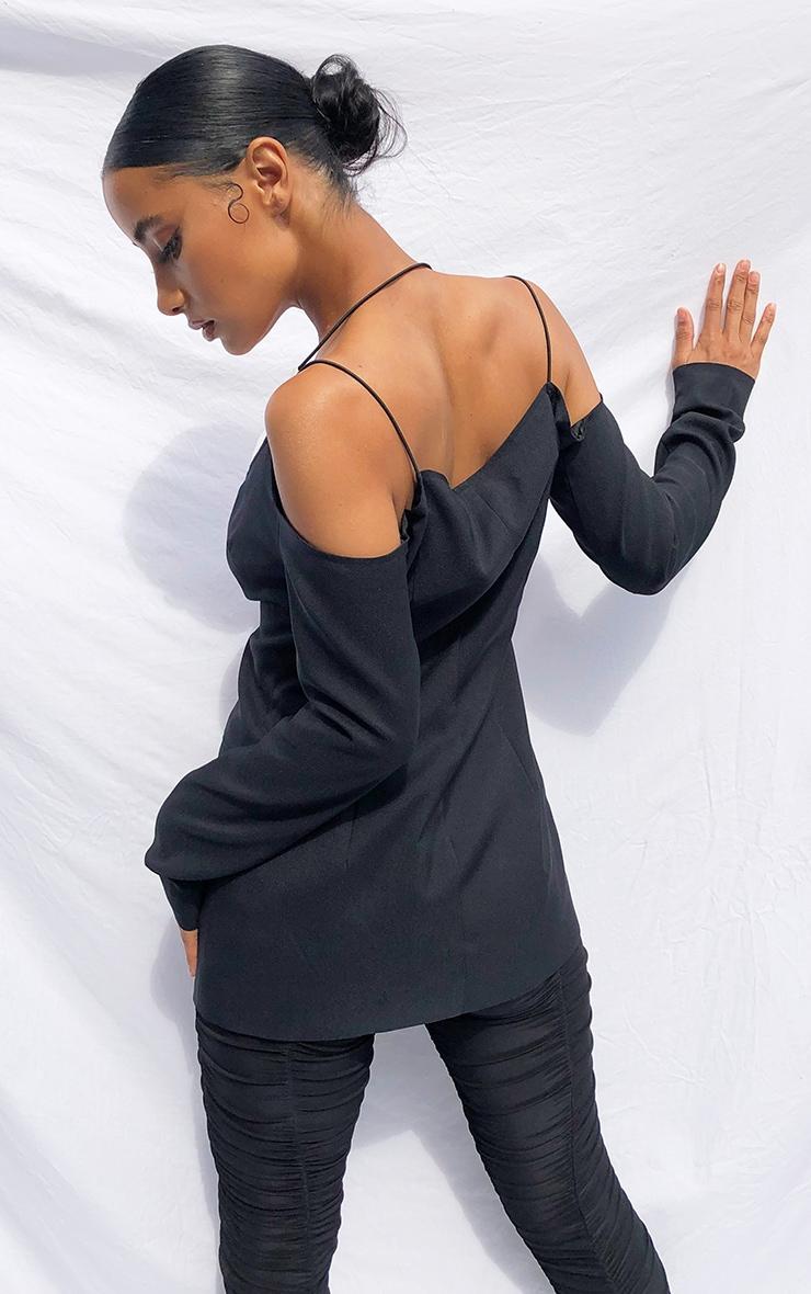Black Miltary Cut Out Contrast Blazer 2