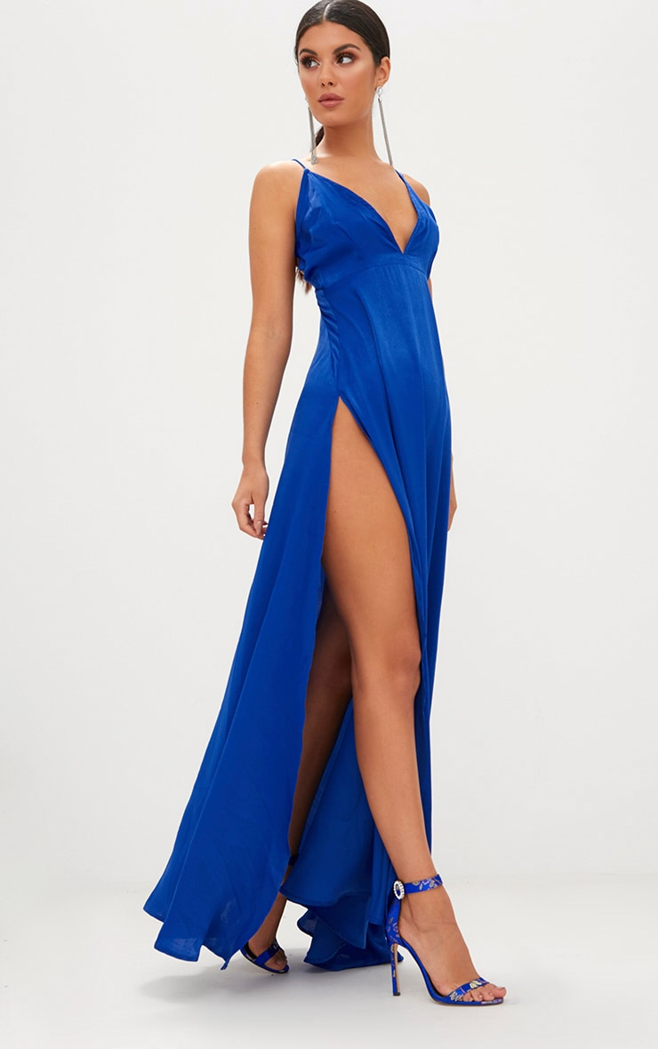 Cobalt Extreme Split Strappy Back Maxi Dress 1