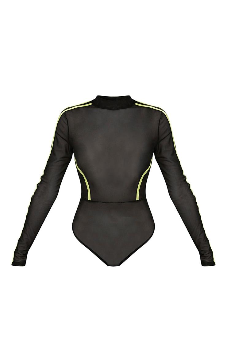 Black Mesh Contrast Seam Sporty Bodysuit 2