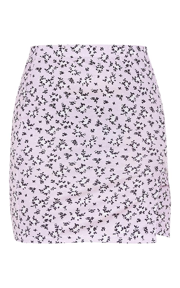 Petite Purple Ditsy Floral Jersey Split Mini Skirt 6