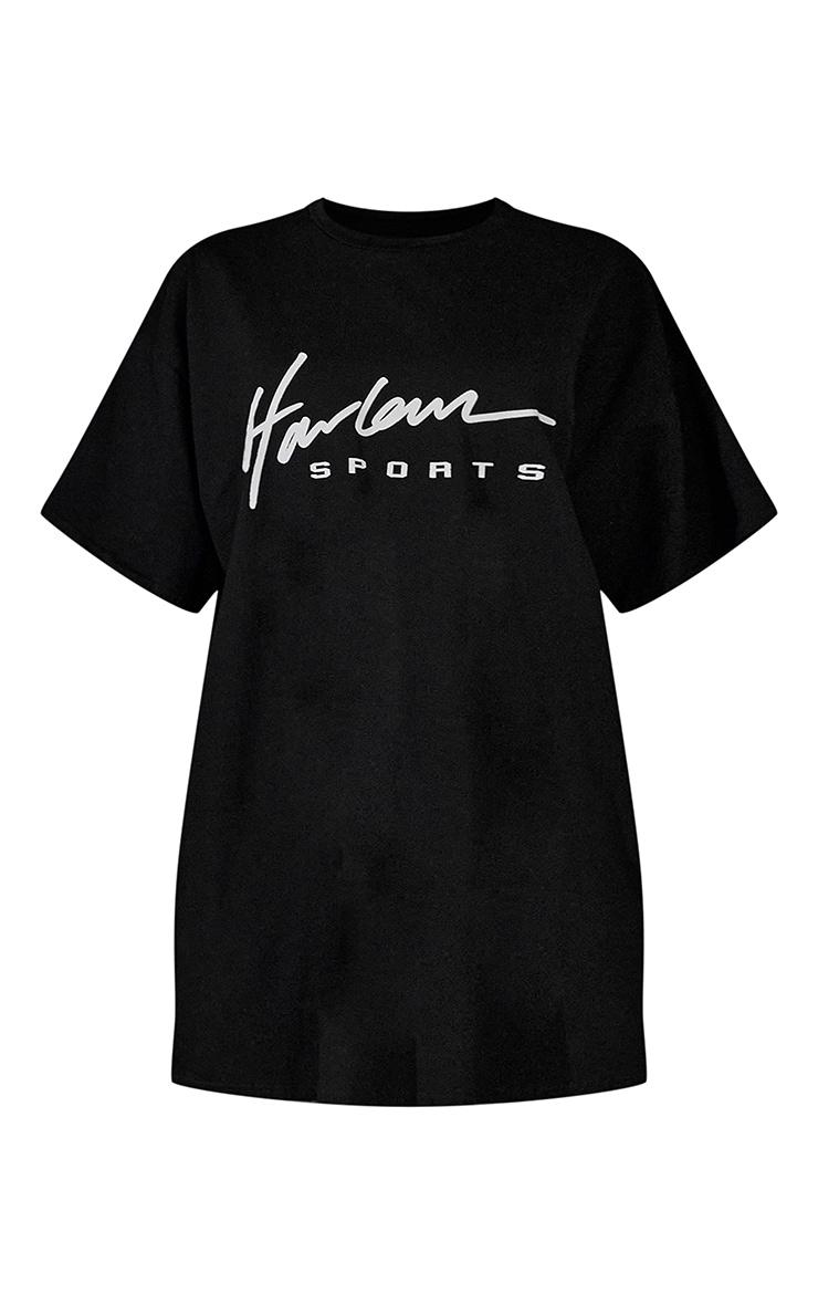 Black Graphic Print Oversized T Shirt Dress 6