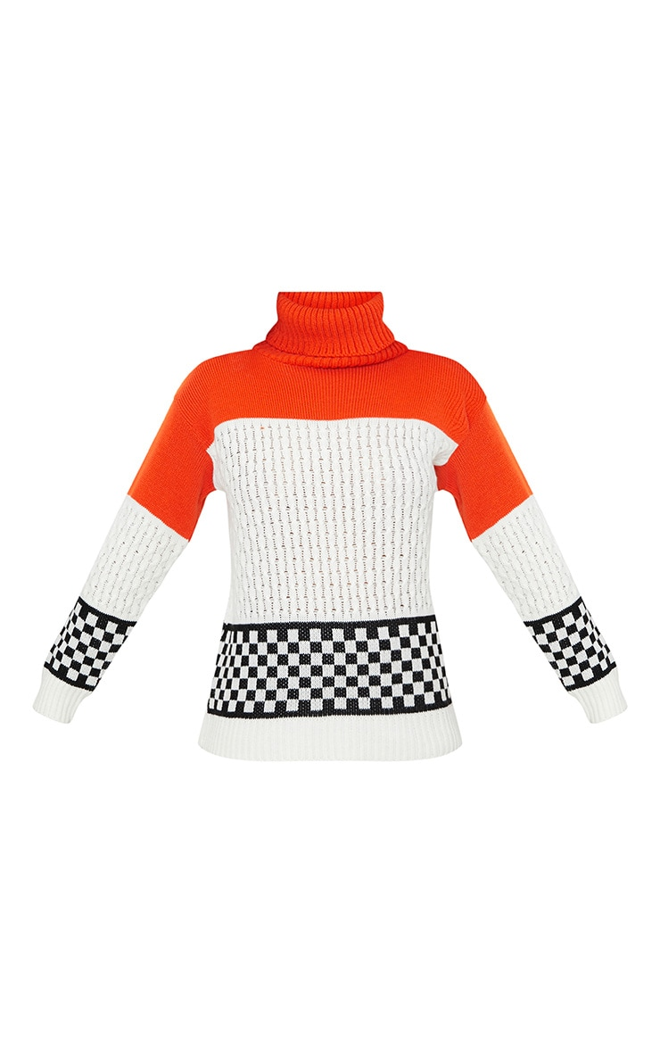 Orange Checkboard Colourblock Jumper 3