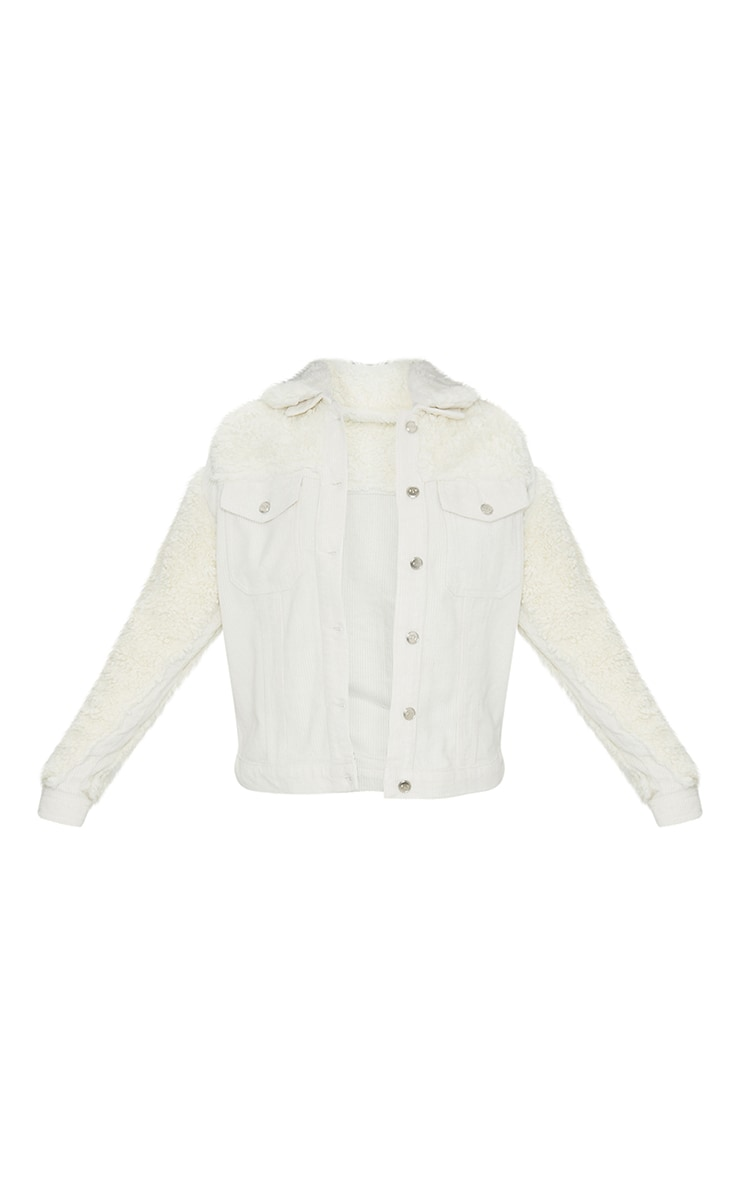 Cream Fur And Cord Denim Jacket 5