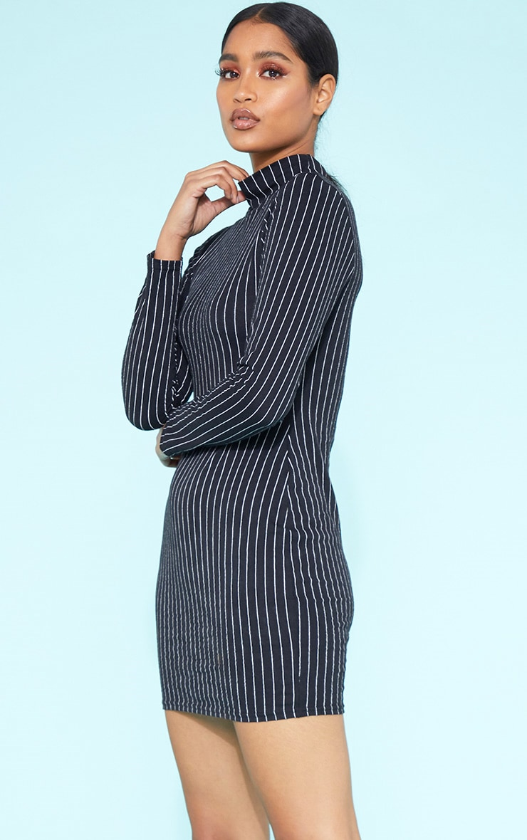 RECYCLED Black Pinstripe Roll Neck Long Sleeve Bodycon Dress 1