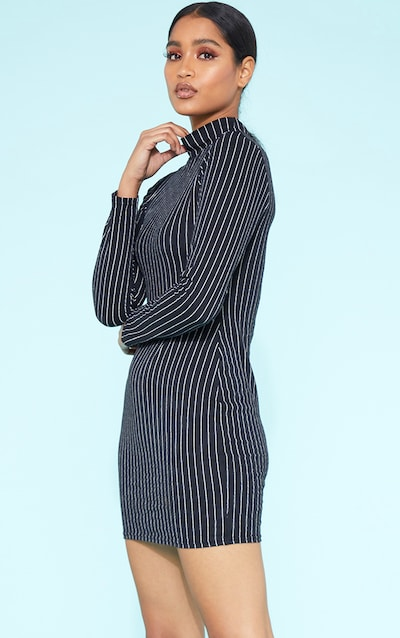 ac4ff88624f RECYCLED Black Pinstripe Roll Neck Long Sleeve Bodycon Dress