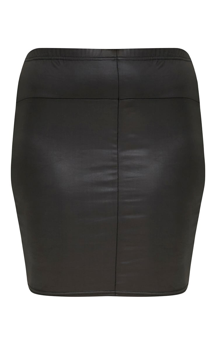 Plus Black Leather Look Mini Skirt 3