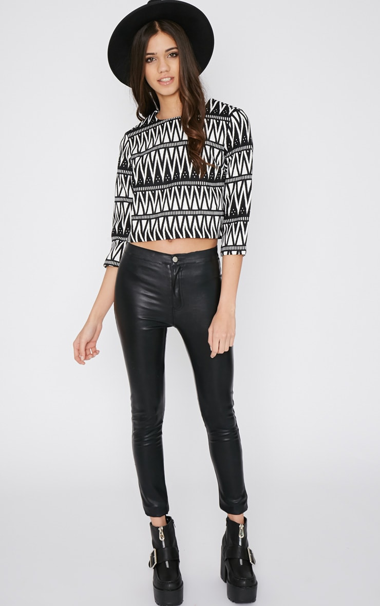 Clemence Monochrome Aztec Crop Top  4
