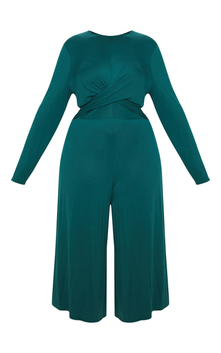 Plus Emerald Green Twist Front Culotte Jumpsuit 3