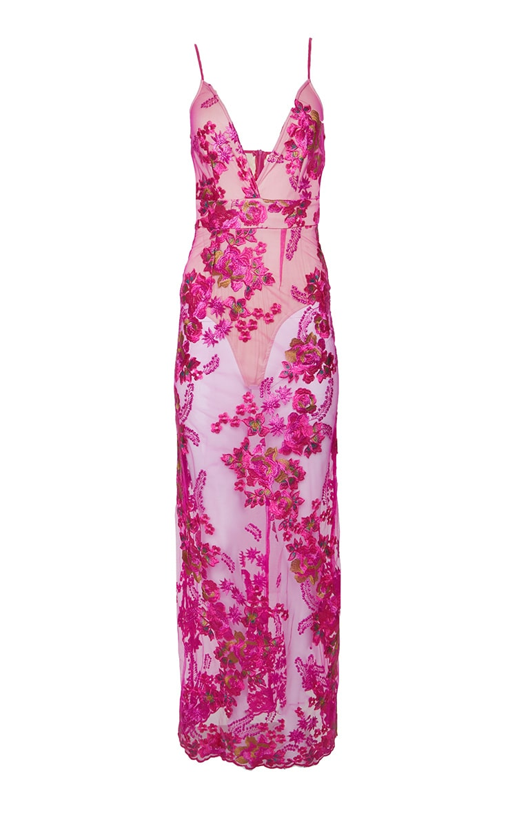 Fuchsia  Embroidered Lace Maxi Dress  4