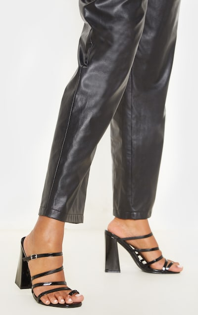 Black High Block Heel Multi Strap Toe Loop Mule Sandal