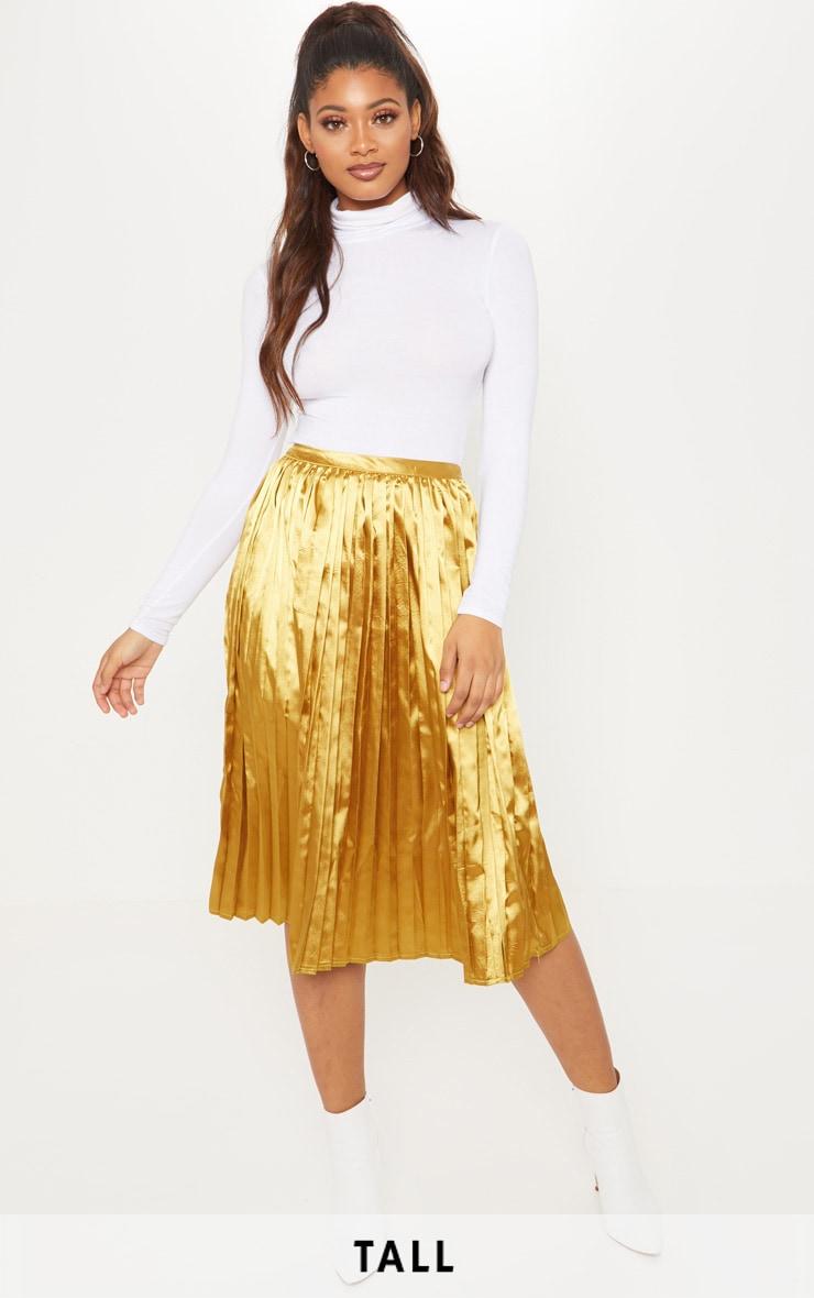 Tall Chartreuse Satin Pleated Midi Skirt  1