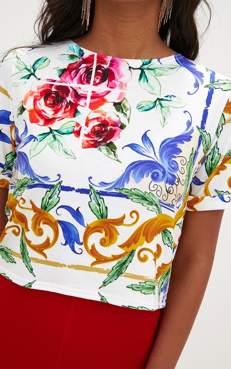 White Chain Print Crop T Shirt  5