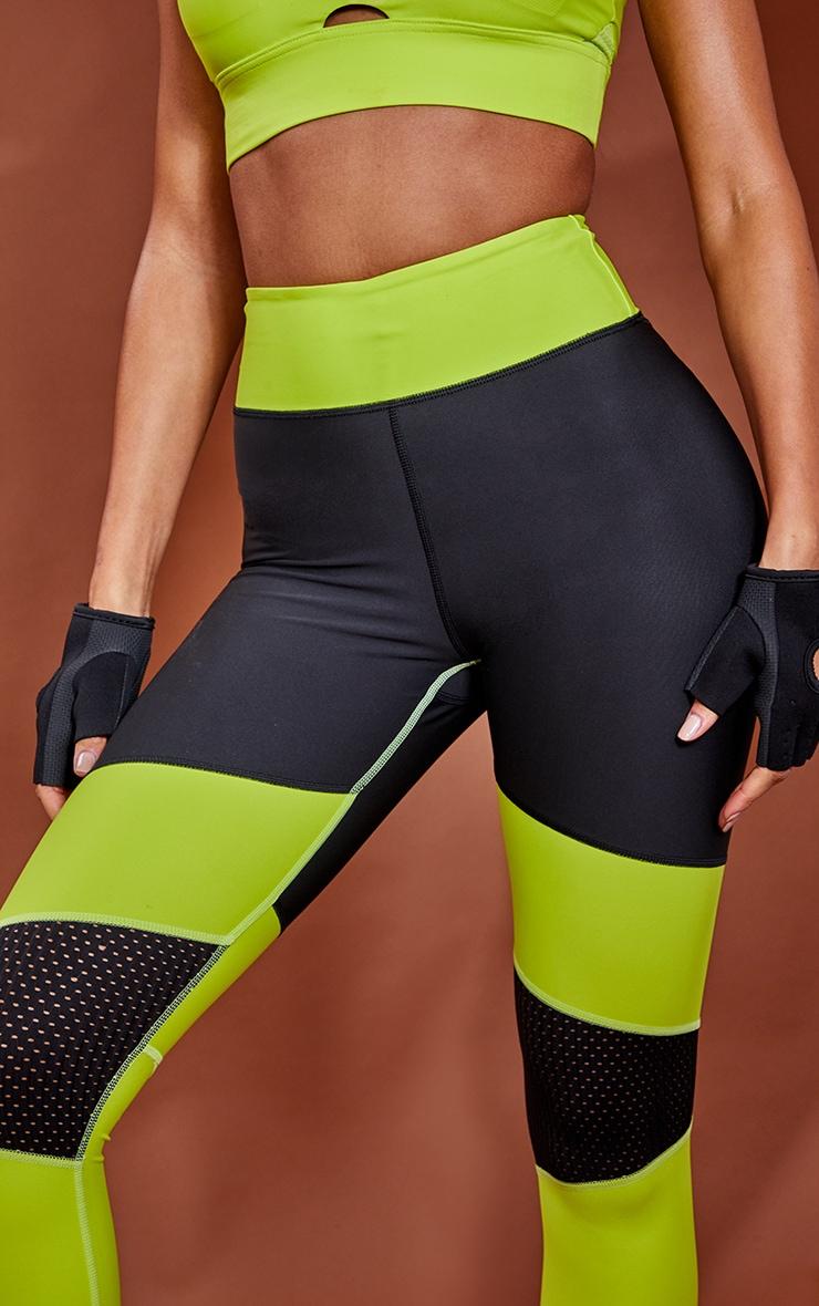 Lime Premium Contrast Panel High Waist Gym Leggings 4