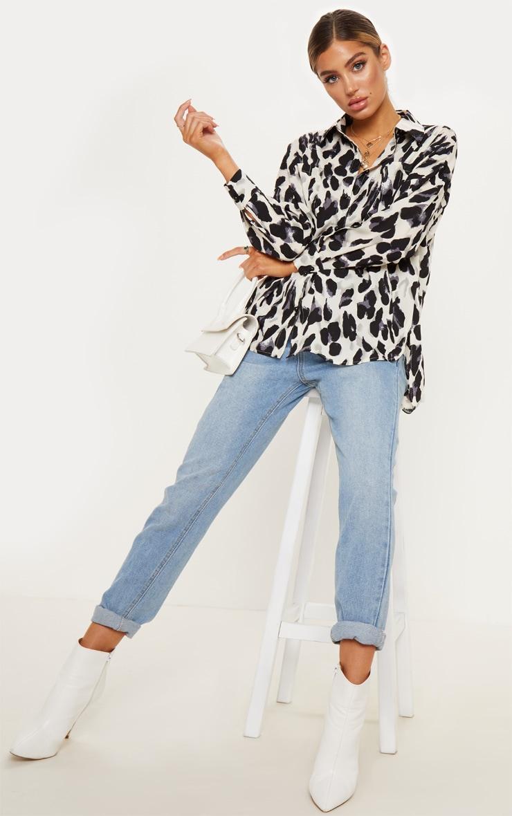 Mono Leopard Print Satin Shirt 1
