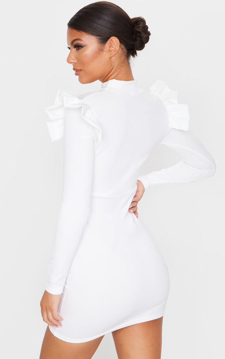 White Frill Shoulder Mesh Insert Long Sleeve Bodycon Dress 3