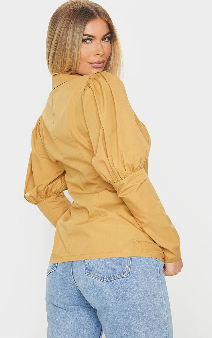 Camel Woven Puff Sleeve Button Front Shirt 2