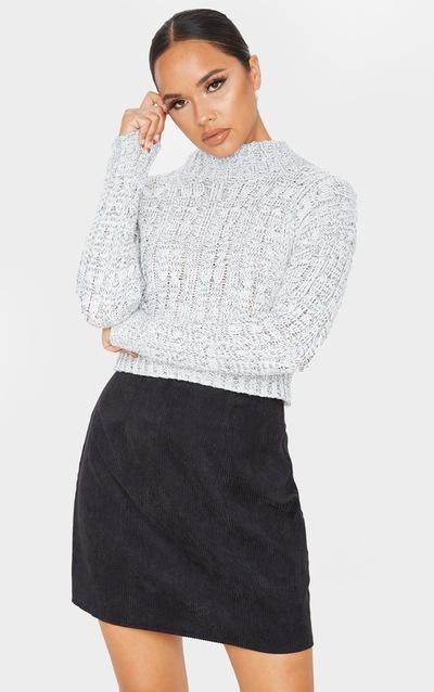 Black Cord A Line Skirt