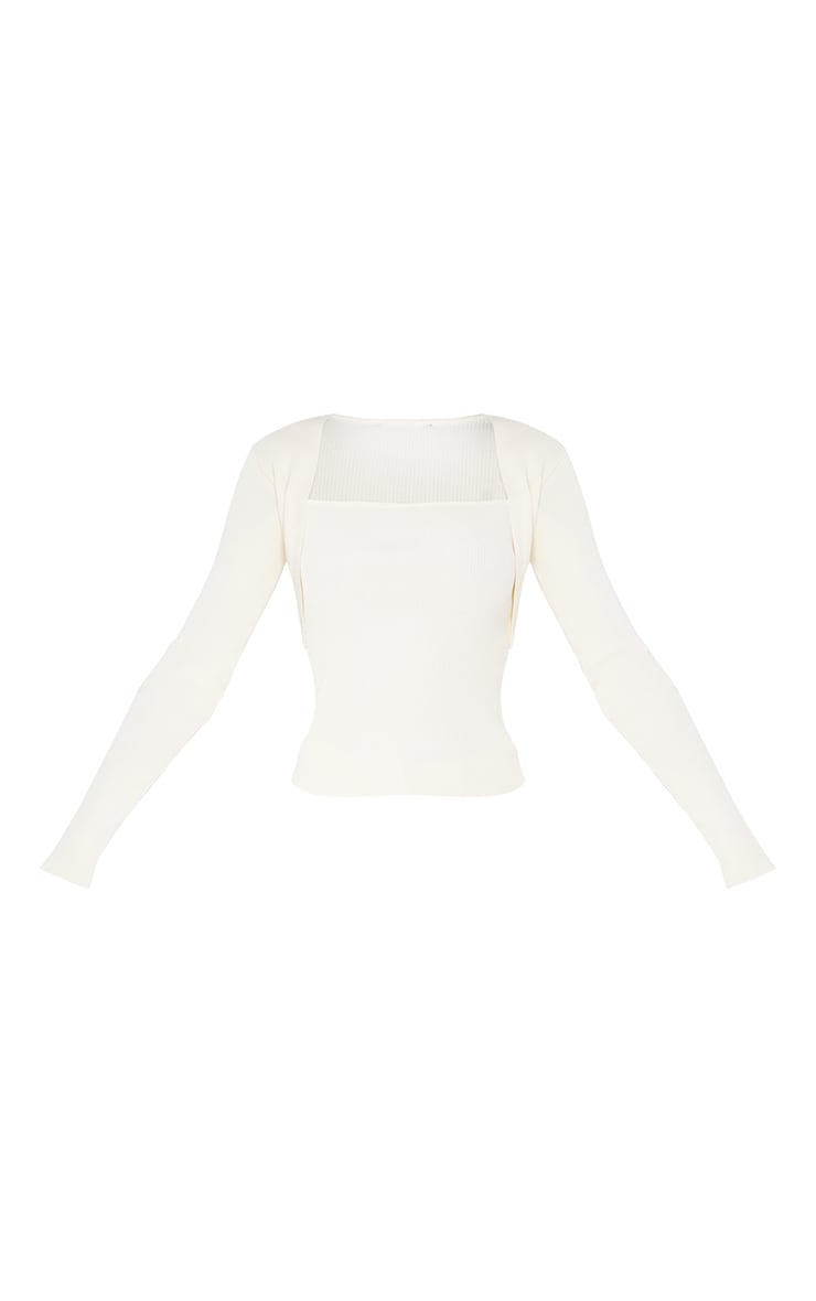 Cream Ribbed Knitted Long Sleeve Top 5