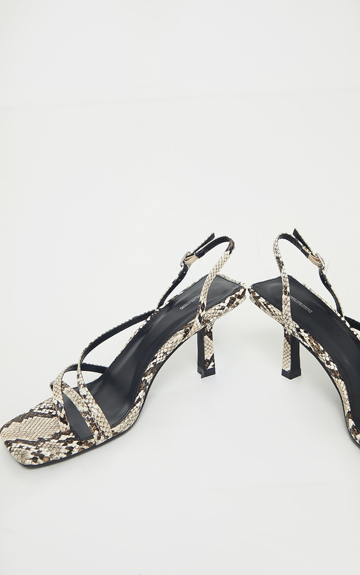 Snake Print Low Heel Strappy Sandals 3
