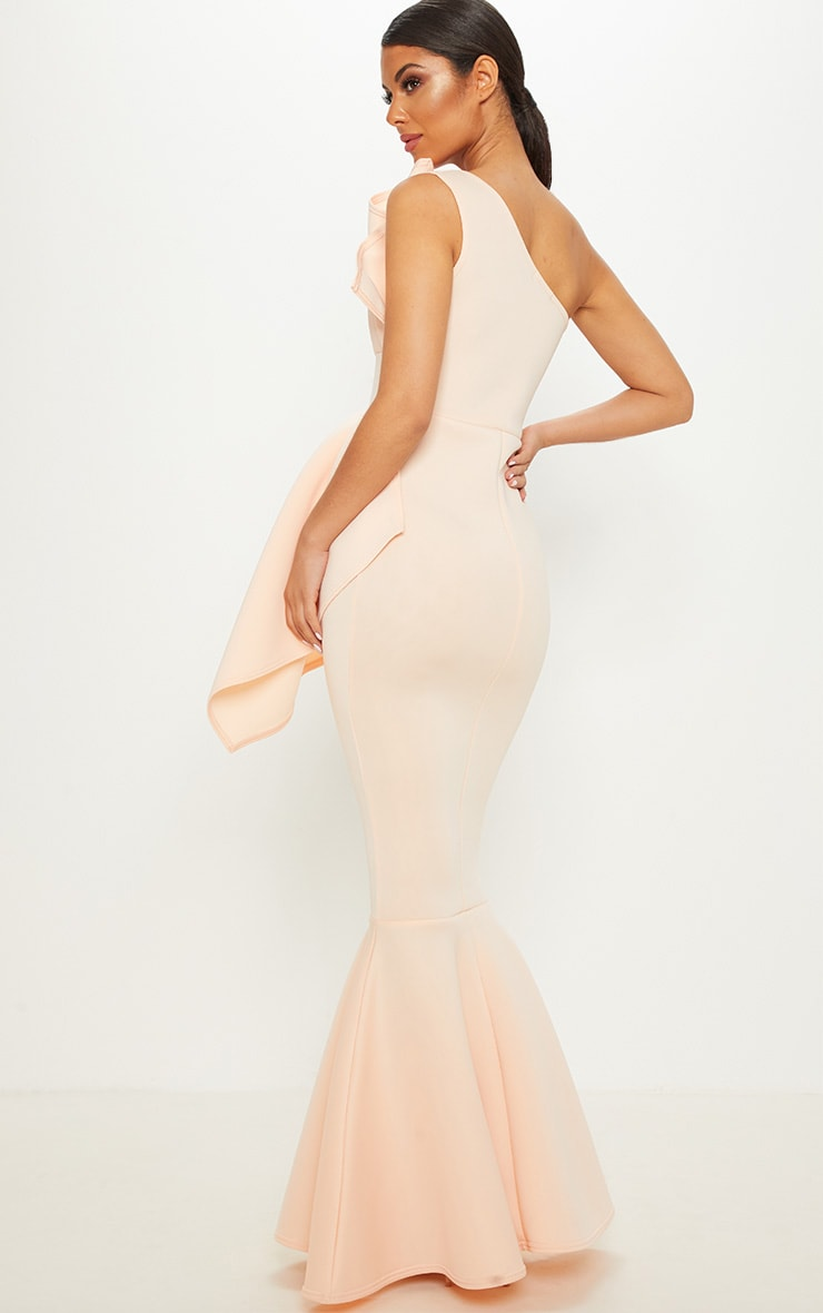 Nude Bonded Scuba Pleated One Shoulder Fishtail Maxi Dress 2