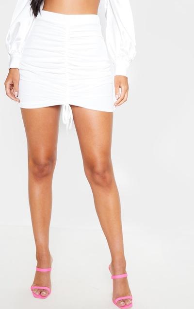 White Mesh Ruched Front Mini Skirt