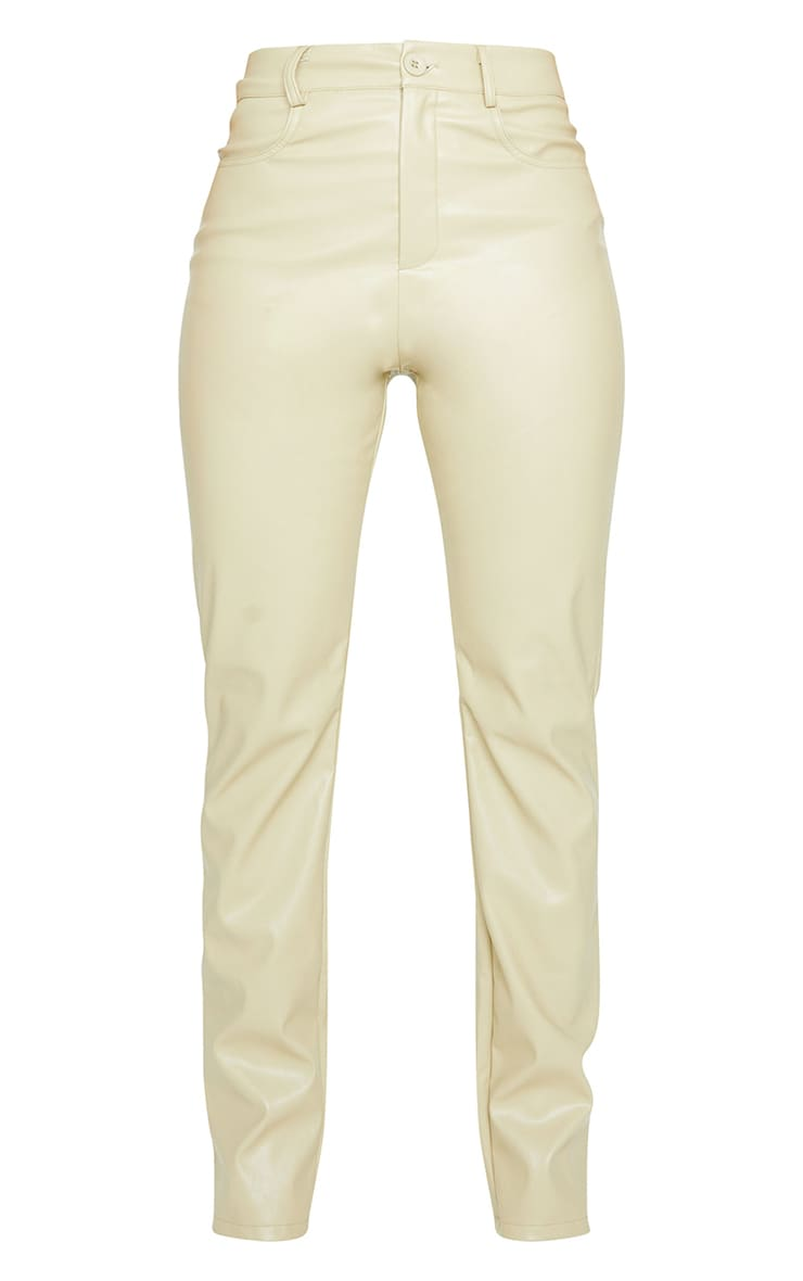 Shape Sage Khaki PU Straight Leg Trousers 5